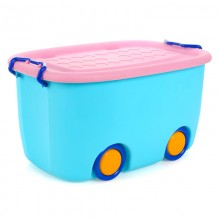 Premium Multifunctions Stackable Toy Storage Box Organiser With Wheels Blue