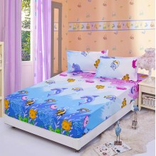 Premium Fitted 3-in-1 Ocean Design Queen Size Bed Sheet